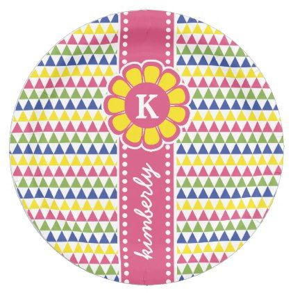 sc 1 st  Pinterest & Colorful Geometric Pyramid Flower Ribbon Monogram Paper Plate