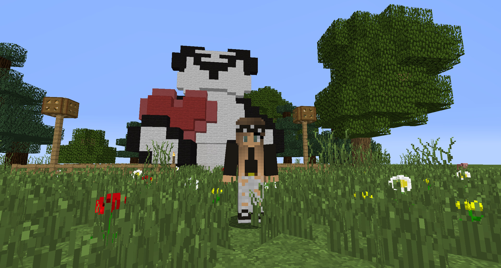 Panda Building Lollyherz Minecraft Mybuilding Heart Pandawithheart Love Request Minecraft Creations Minecraft Minecraft Buildings