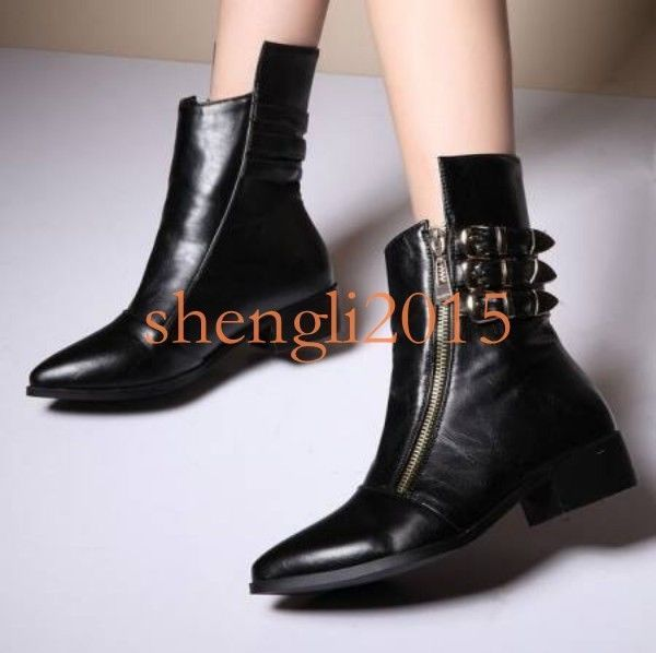 04ce4fca816c Women S Buckle Strap Side Zipper Shoes Pu Leather Low Heel Mid Calf Boots  Hot