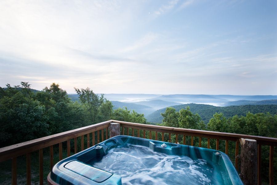 The hot tub view from Cabin X | Arkansas Cabins