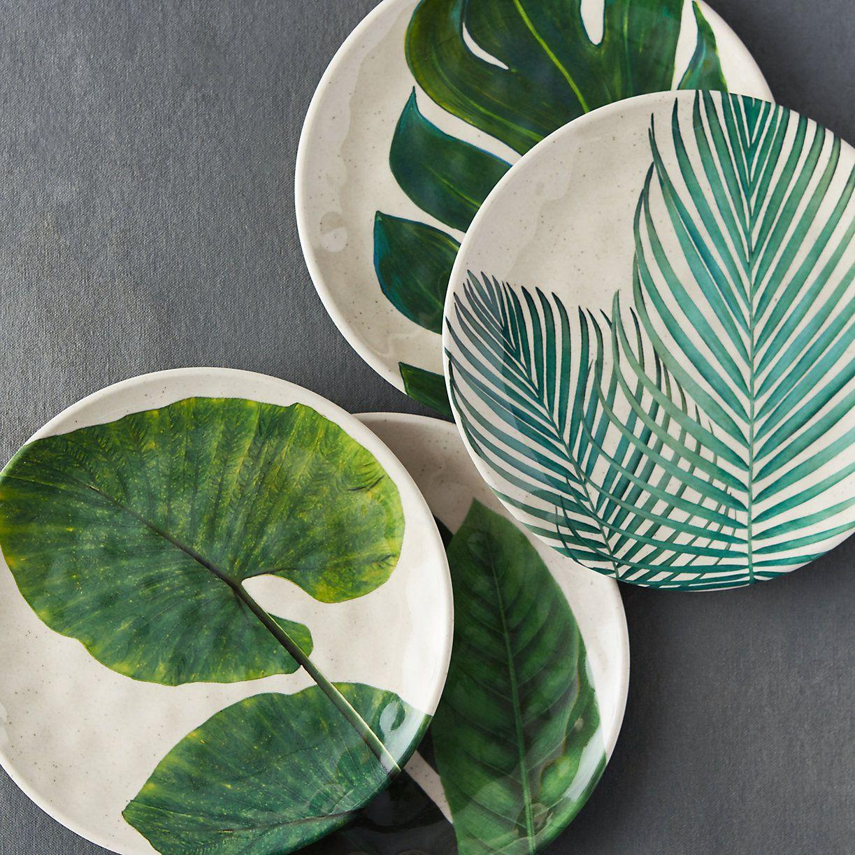 Tropical Foliage Melamine Plate Seramik Desenler Cizim