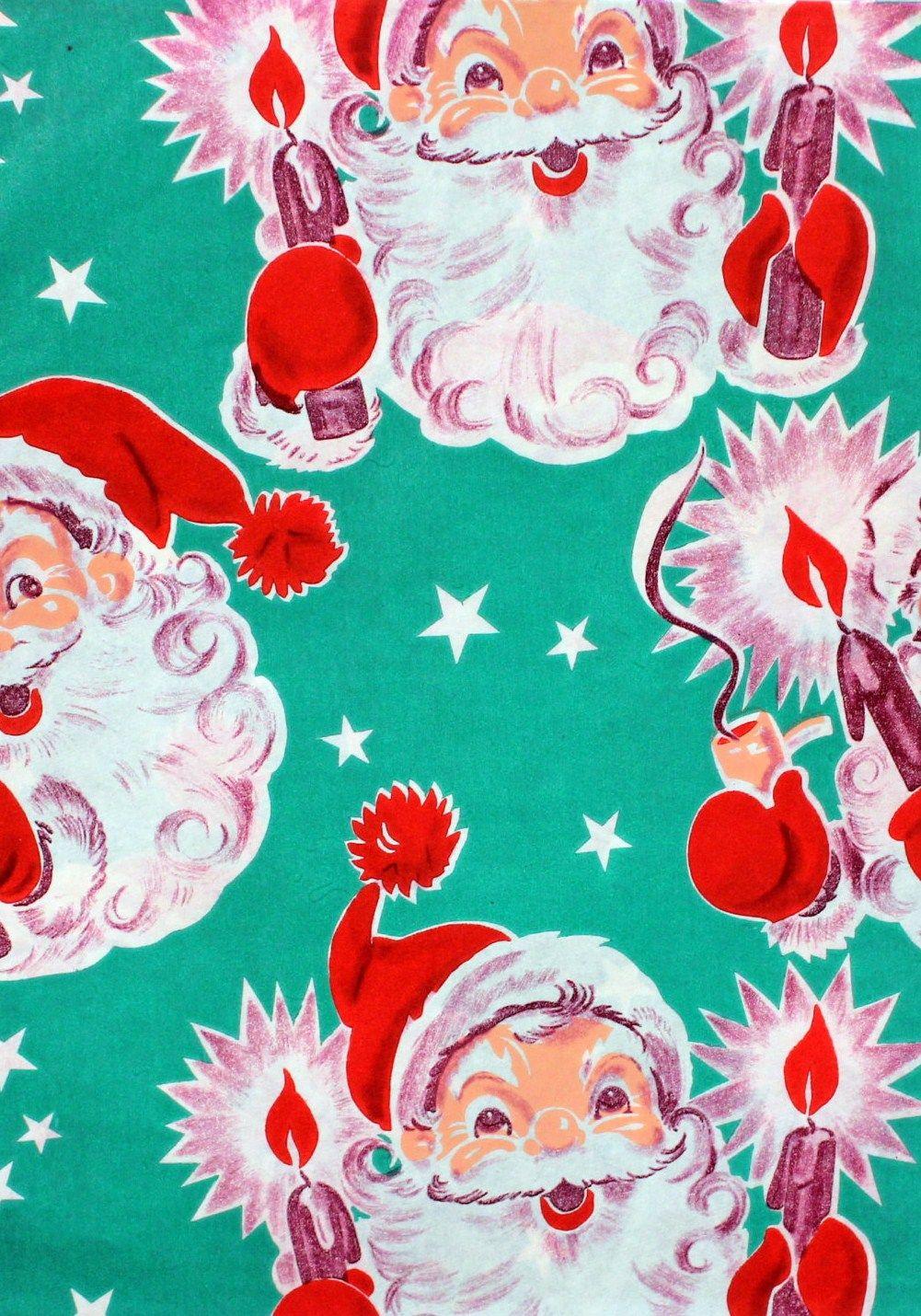 Vintage Santa Wrapping Paper The Aqua Red Is Spectacular Christmas Ephemera Vintage Christmas Wrapping Paper Vintage Christmas Gifts