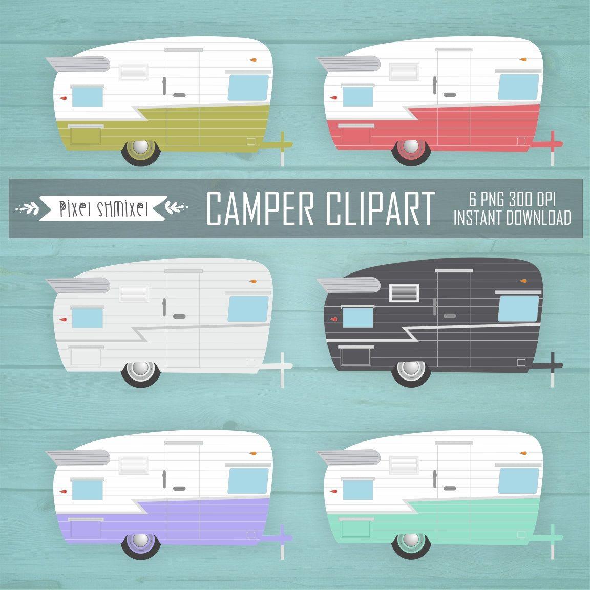 Camper Clipart Digital Retro Trailers Clip Art Vintage CampervanCamp Instant Download 349