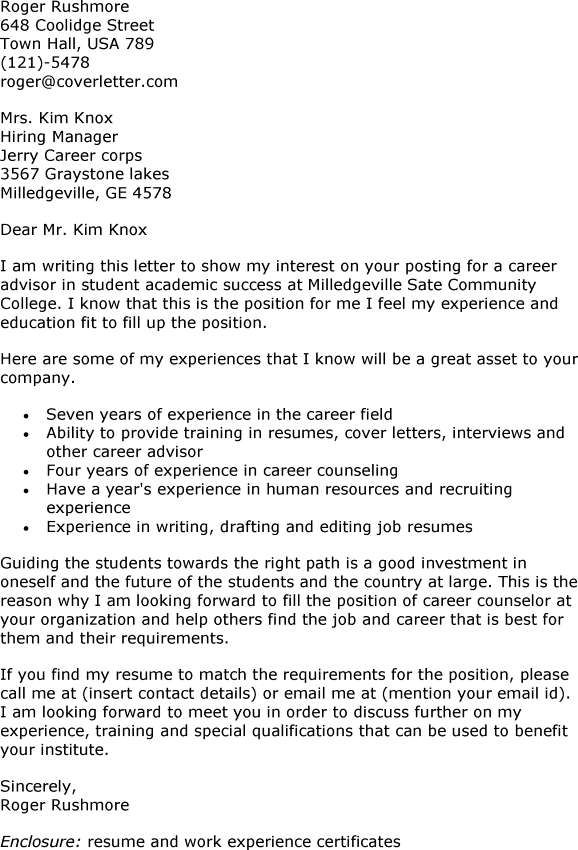 Cover Letter For School Counseling Position Com College Admissions