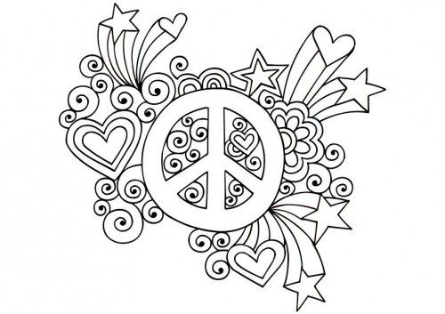 Psychedelic Peace Coloring Pages Groovy Sign 126869 500x353 Jpg