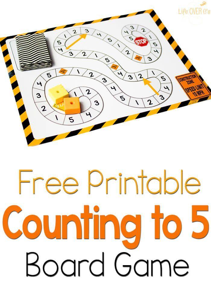 math worksheet : free counting to 5 game construction theme  construction theme  : Printable Kindergarten Math Games