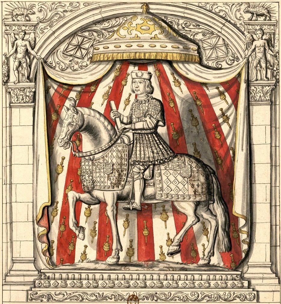 Dessin de la figure en pierre, au-dessus de la porte du château du Verger (Gaignières 807) -- «Pierre de Rohan, sgr de Gié, Maréchal de France» (mort en 1513).