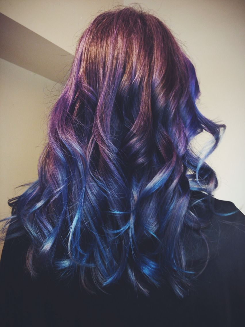 Beautiful Non Traditional Balayage Ombre Mermaid Nebula Purple