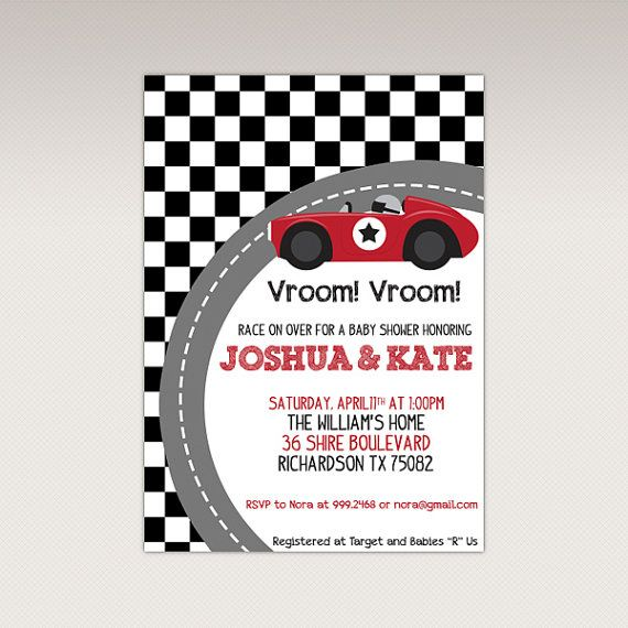 Vintage Red Racing Car Baby Shower Party Printable Invitation Race Invitations 4