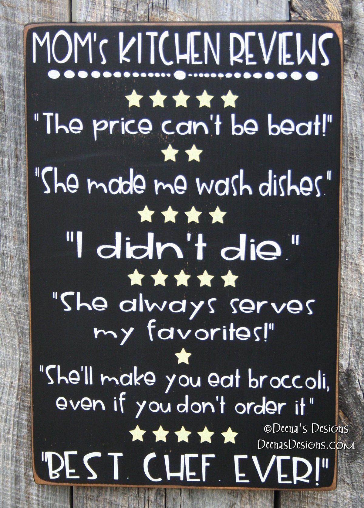 mom's kitchen reviews sign, kitchen reviews, kitchen sign