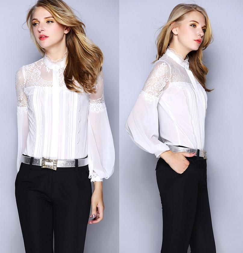 New Brand Blouses Women Shirt Sheer Lace Patchwork Long Sleeve ...