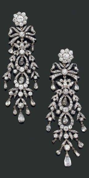 Georgian 18th Century 19th Century Composite Silver Gold Diamond Chandelier Earrings Jewelry Diamond Chandelier Earrings Antique Diamond Earrings