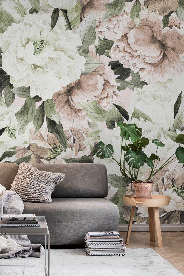 Vintage blush floral Wall mural in 2020 Modern floral