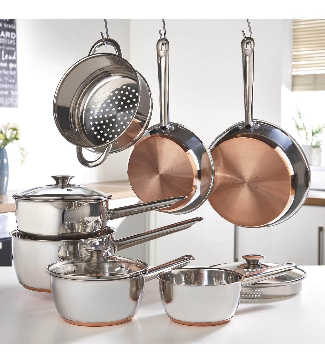 Image For Sabichi 7 Piece Copper Bottom Pan Set From Ace Copper Bottom Pans Cookware Set Pan Set