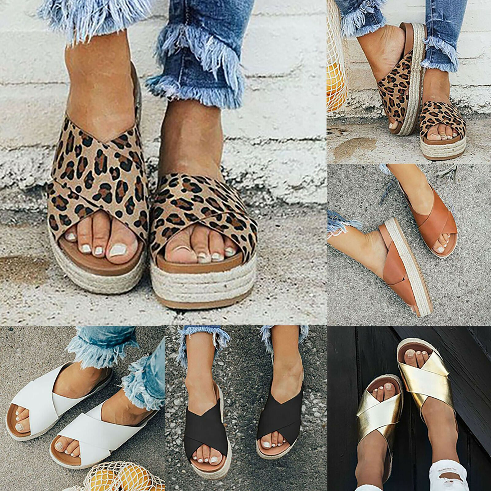 Damen Flach Sandalen Peep Toe Sandaletten Sommerschuhe Casual Strand Hausschuhe