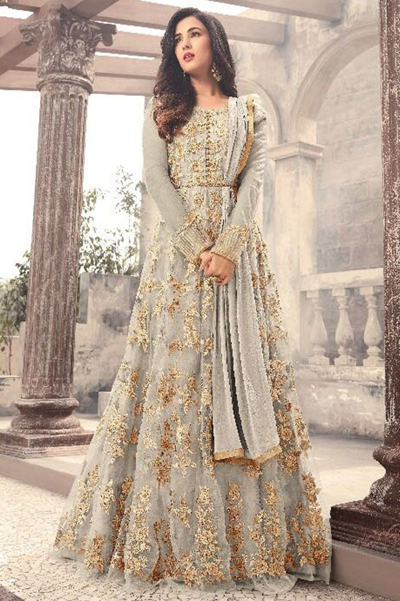 9be2fa6532 Sonal Chauhan Grey Color Gorgeous Party Wear Net Fabric Designer Bollywood  Style Floral Embroidery Work Wedding Wear Bridal Style Fancy Floor Length  ...