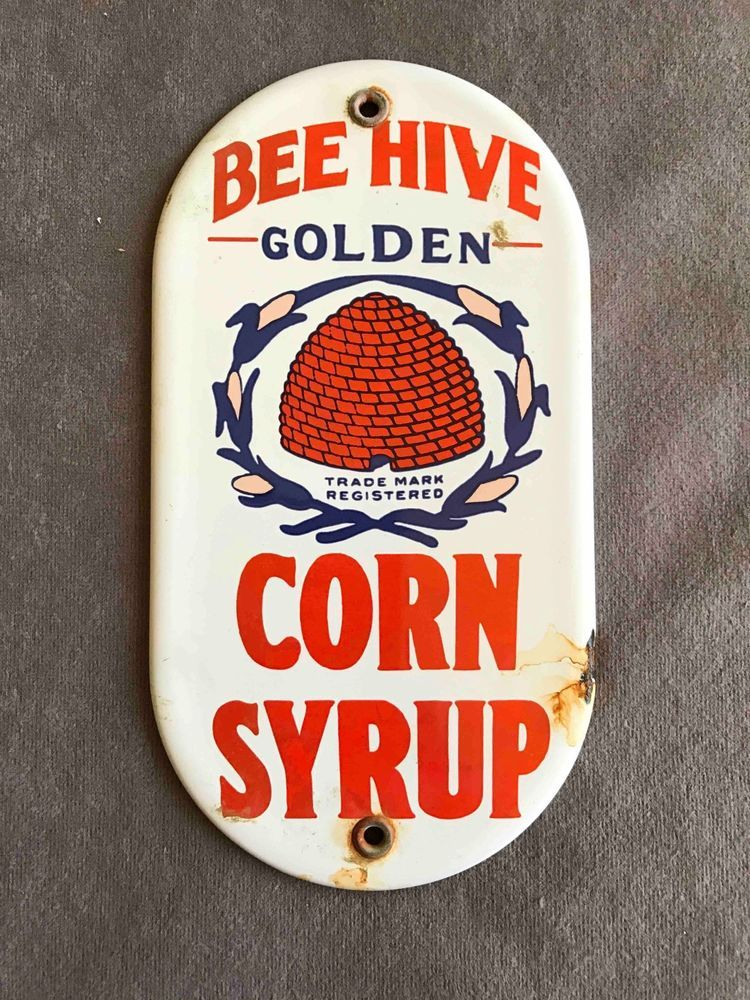 Old Bee Hive Golden Corn Syrup Porcelain Door Push Palm Press Plate Sign  | eBay