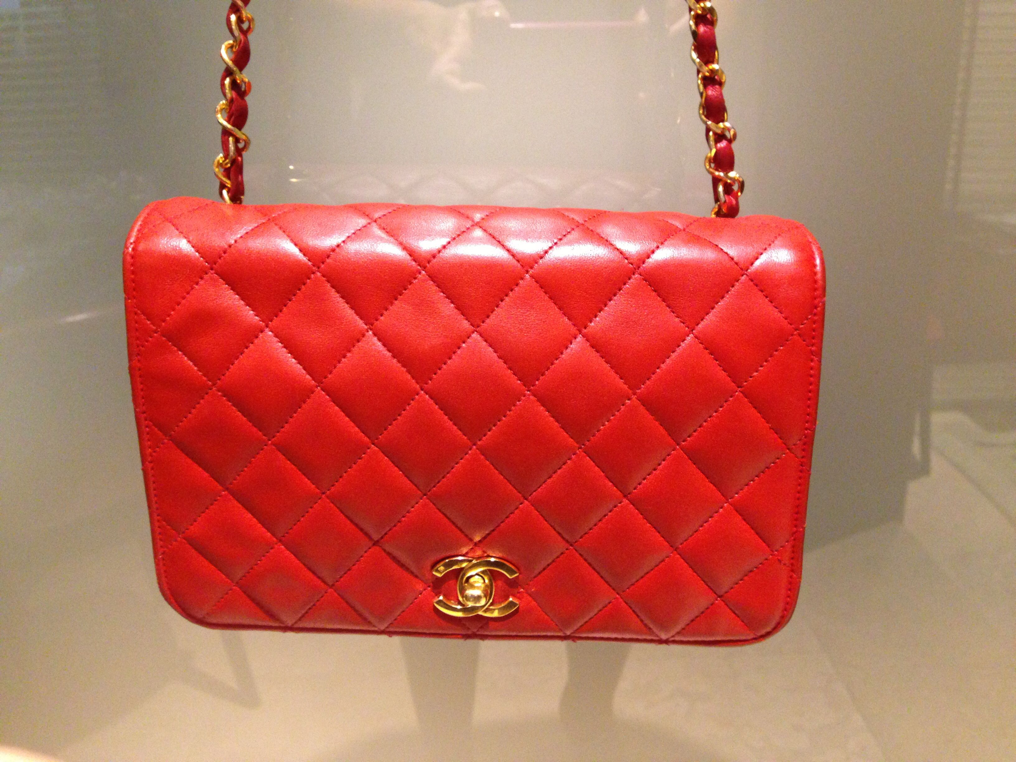Vintage Chanel red diamond quilted lambskin mademoiselle bag with ... : chanel red quilted bag - Adamdwight.com