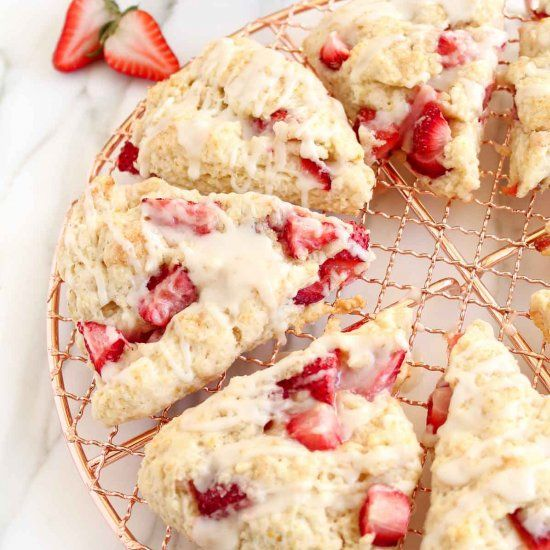 Fresh strawberries & cream scones are simple to make and perfect for a spring brunch!