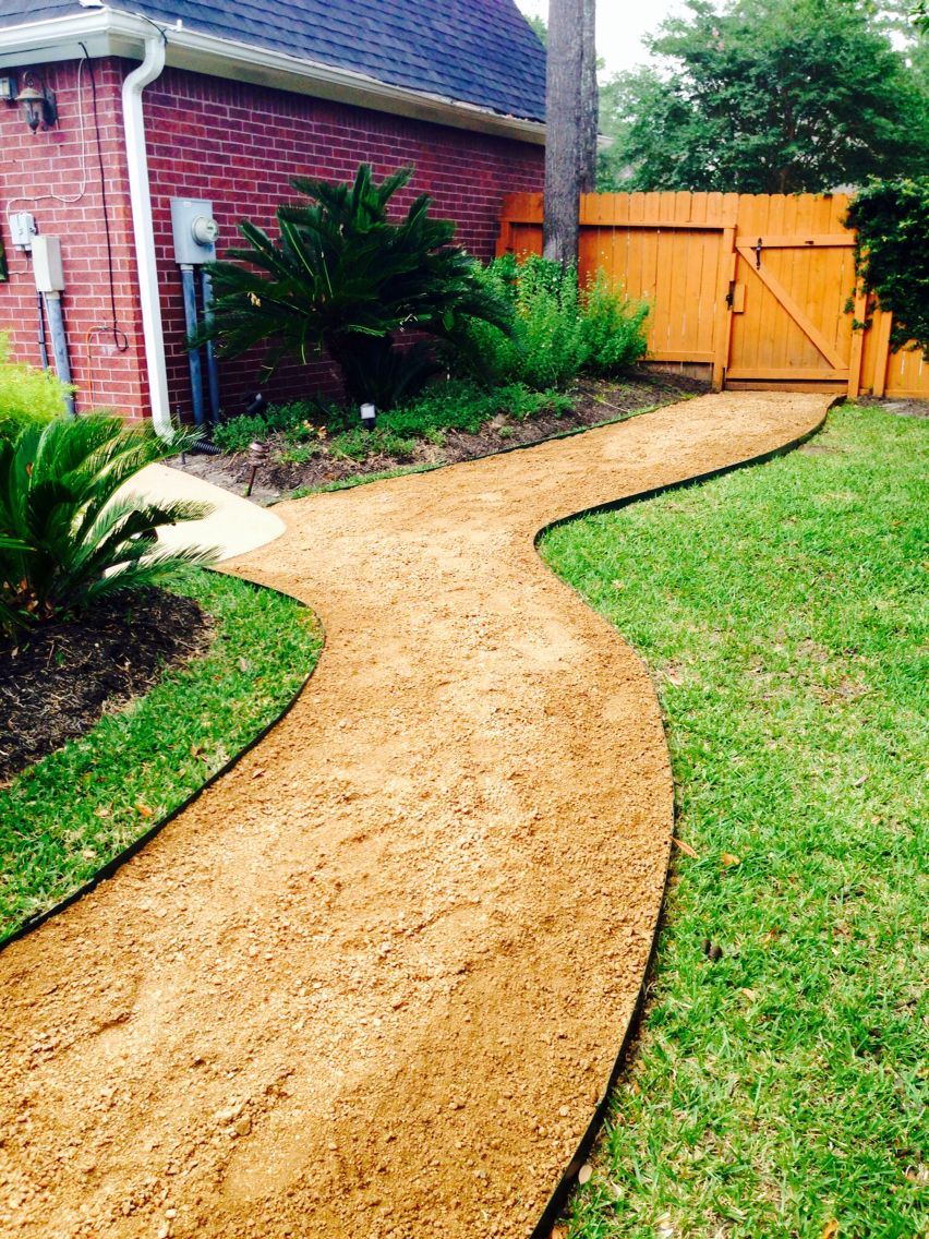 Completed crushed Granite pathway   Backyard walkway ... on Decomposed Granite Backyard Ideas id=70489