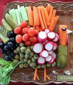 Vegetable platter shaped like turkey  305546_375207199232372_1474611489_n.jpg 500×384 pixels