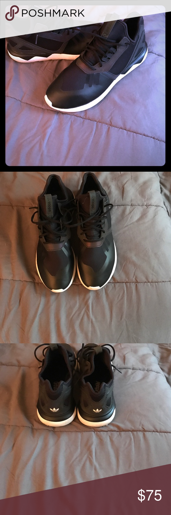 Adidas tubular black and metallic purple adidas tubular Adidas Shoes Sneakers