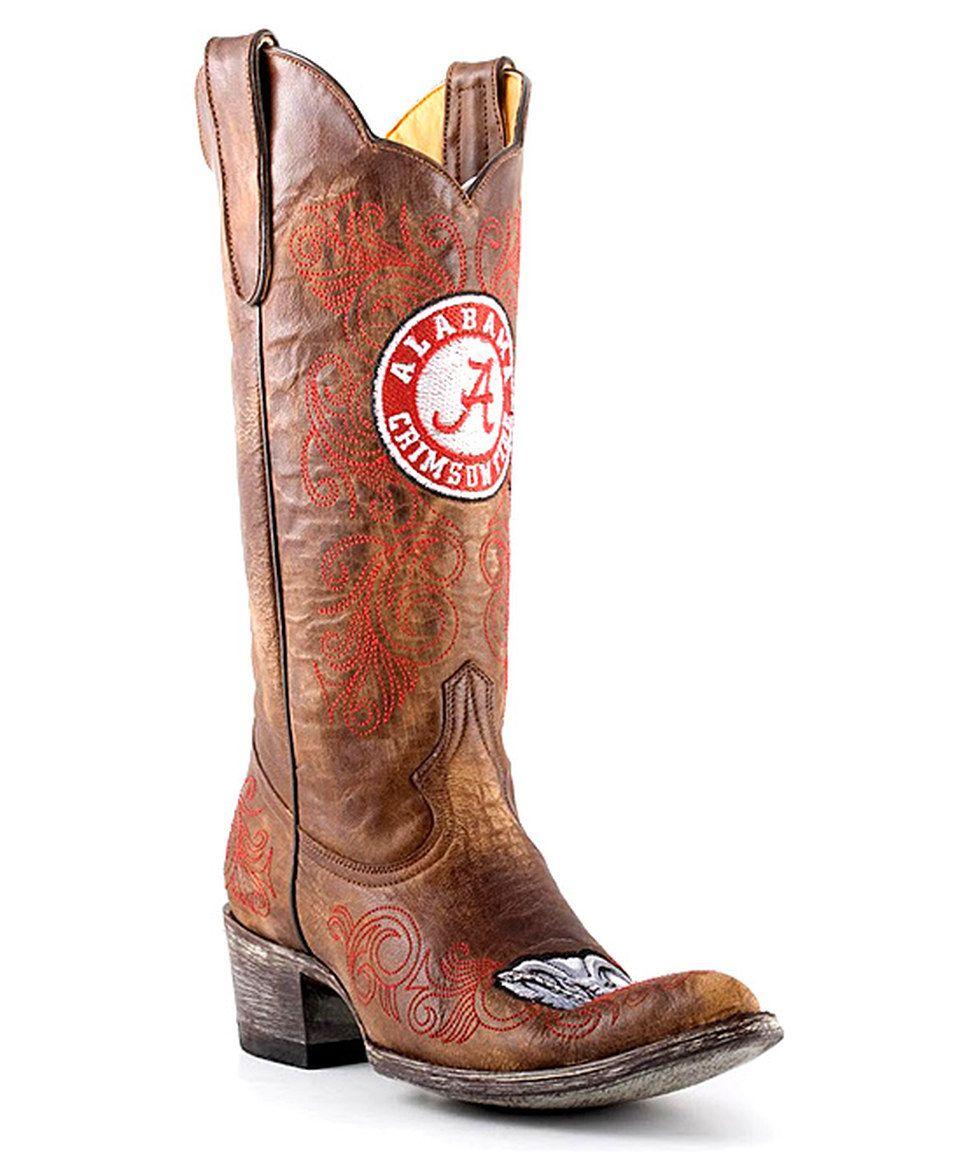 Look at this #zulilyfind! Alabama Crimson Tide Brass Tall Leather Cowboy Boot - Women by Gameday Boots #zulilyfinds