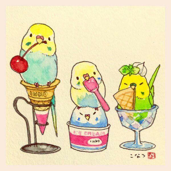 Kawaii Budgies Cute Animal Drawings Parakeet Art Cute Drawings