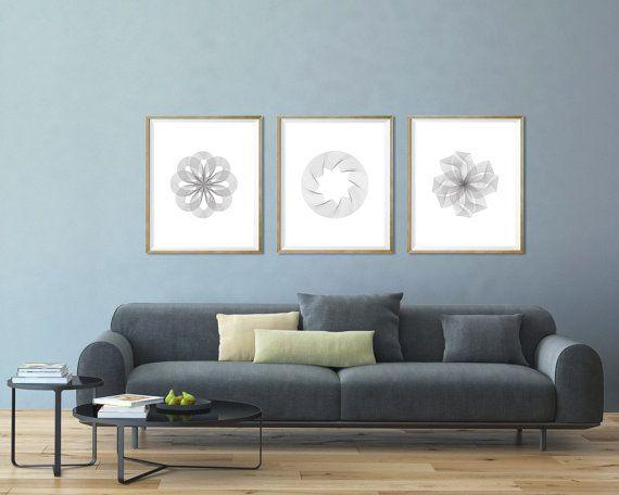 Framed Art For Living Room. Gray modern wall art Minimalist print and white d cor  minimalist Silver set of 3 living room