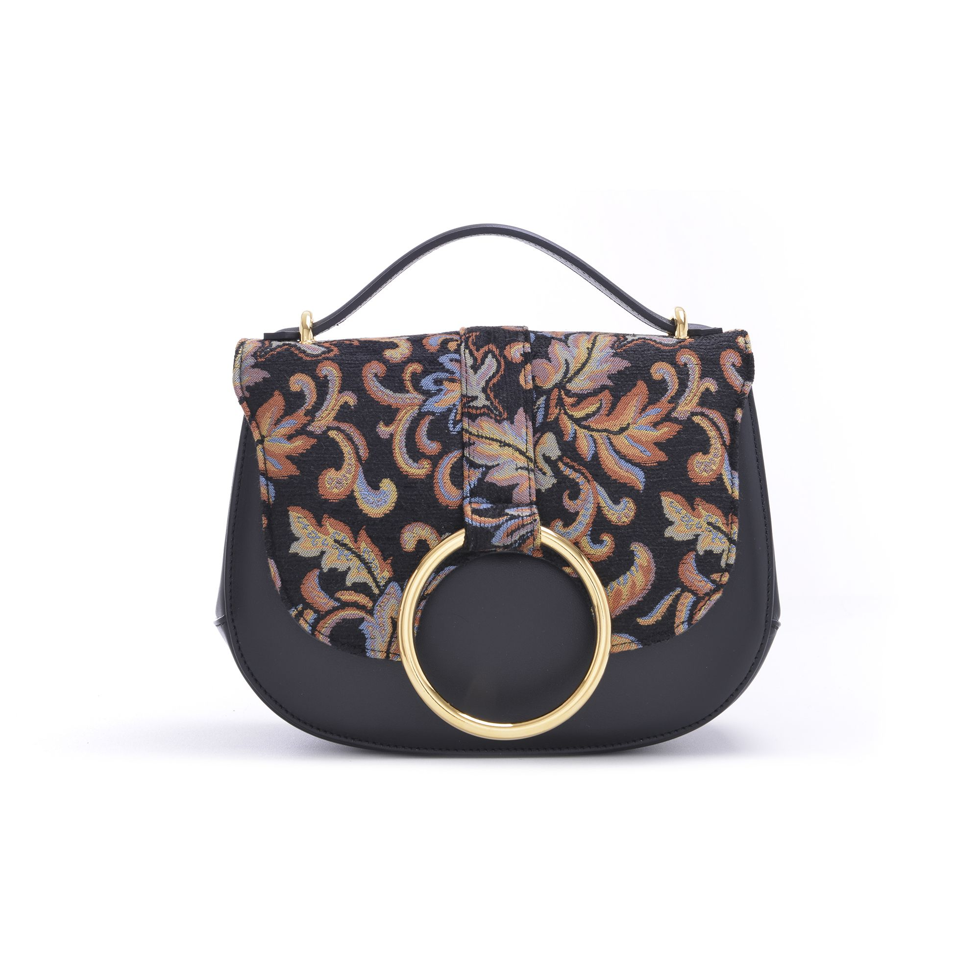 Carbotti 310 - Woman Leather Handbag calfskin black / jac. Flowers - http://carbotti.it/en/product/carbotti-310-woman-leather-handbag-calfskin-black-jac-flowers/