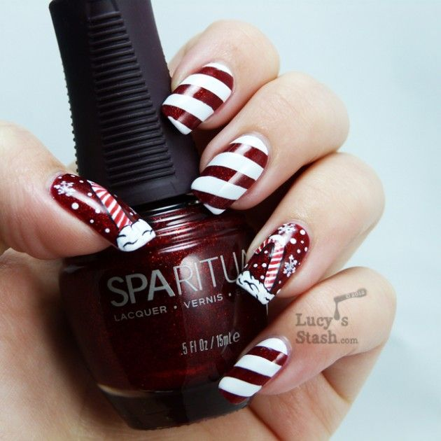 fun and easy christmas candy cane nail designs repin