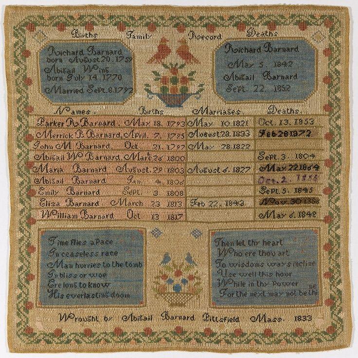 antique samplers | Family Register Sampler, 1833 ... | Antique Samplers