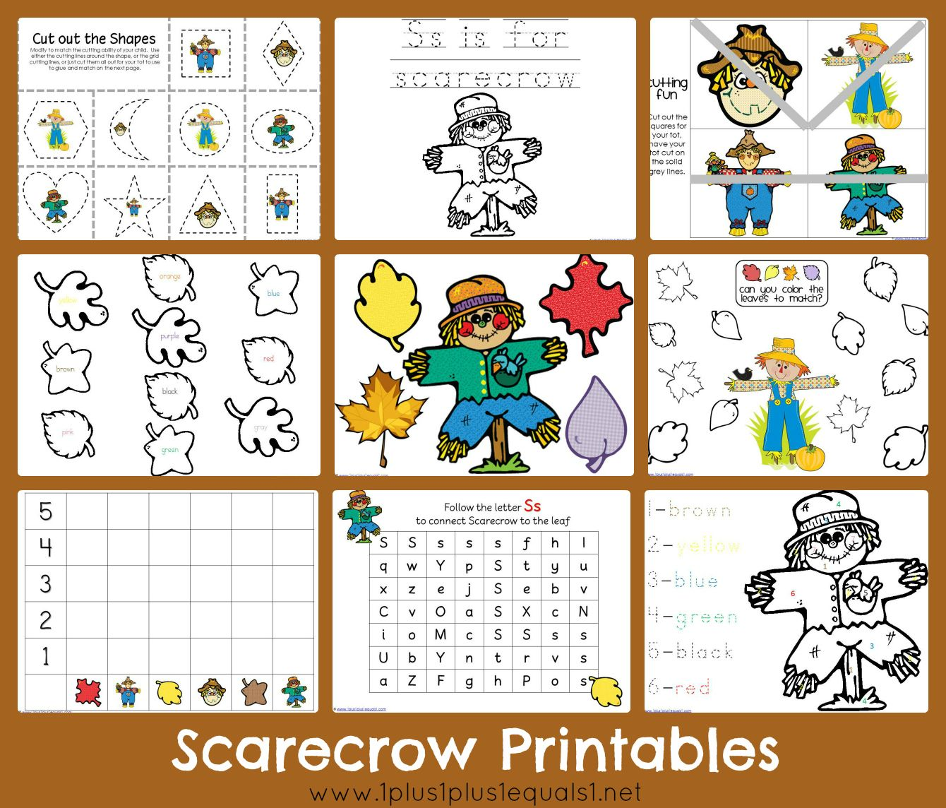 Free Scarecrow Printables From 1plus1plus1equals1