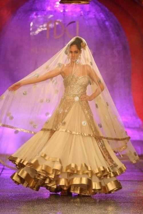 Gorgeous Gold Lehenga from Suneet Varma's 2012 Bridal Collection  #IndianWedding