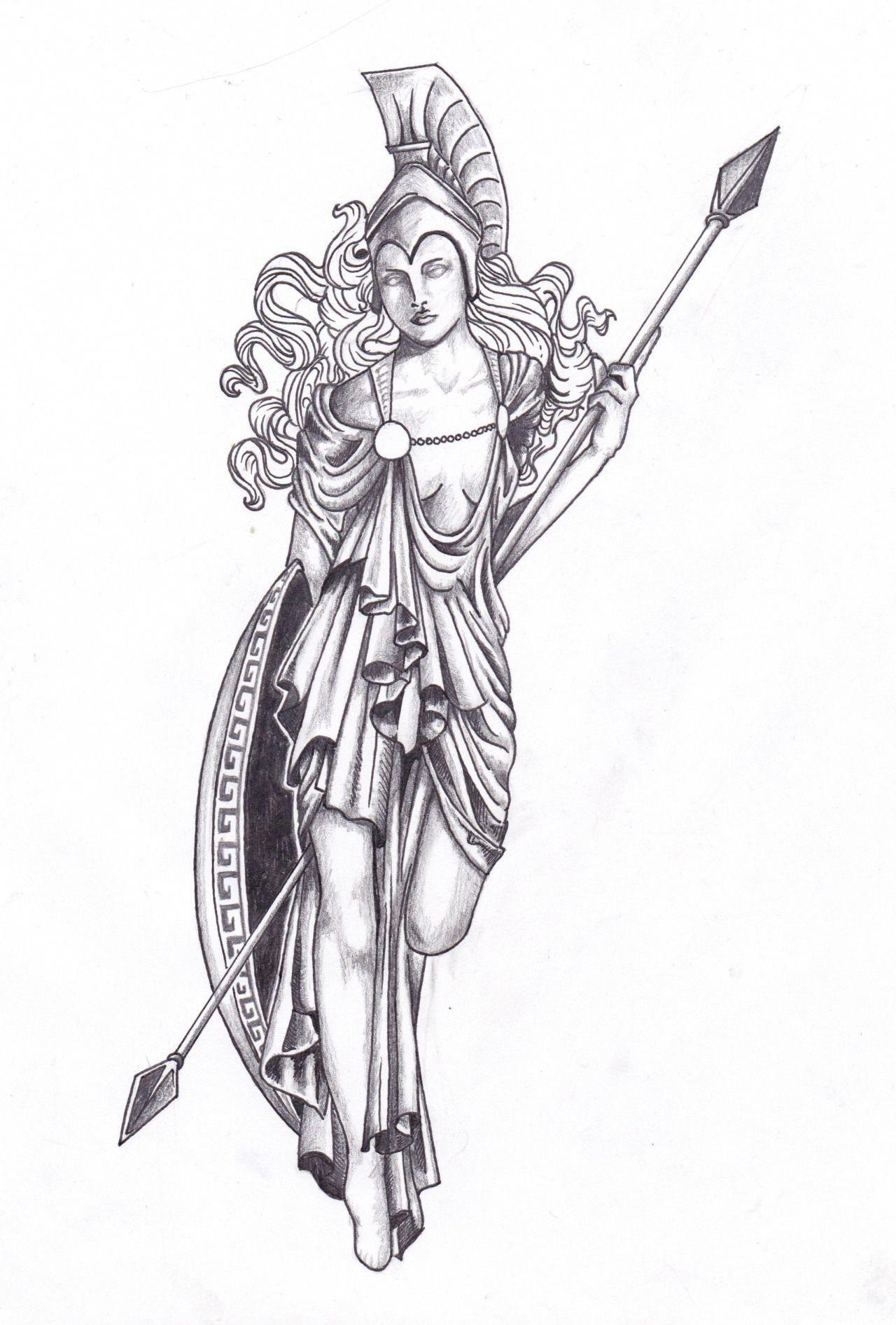 Athena statue tattoo design for a friend. I would love