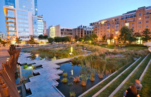 Tanner Springs park in PDX.  Excellent example of incorporating natural elements into urban planning for control of stormwater runoff.