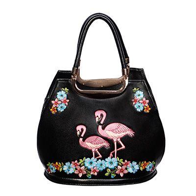 Tas met flamingo en bloemen print zwart