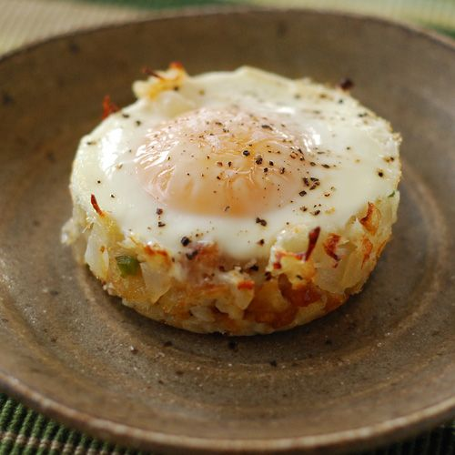 Baked Eggs Napoleon, you can make this in a muffin tin for an easy breakfast.