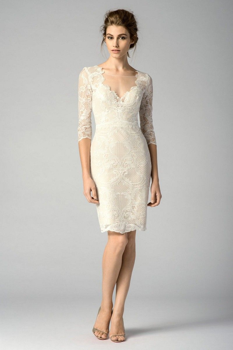 A Stretch Satin Lining Defines The Sheath Silhouette Of Watters Encore 7201e Mango Dress Civil Wedding Dresses Short Wedding Dress Bridal Dresses [ 1200 x 800 Pixel ]