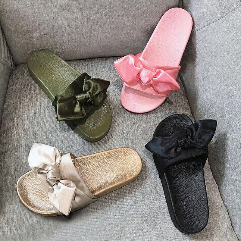 Summer Slides Trendy Silk Decoration Bow Woman Slippers