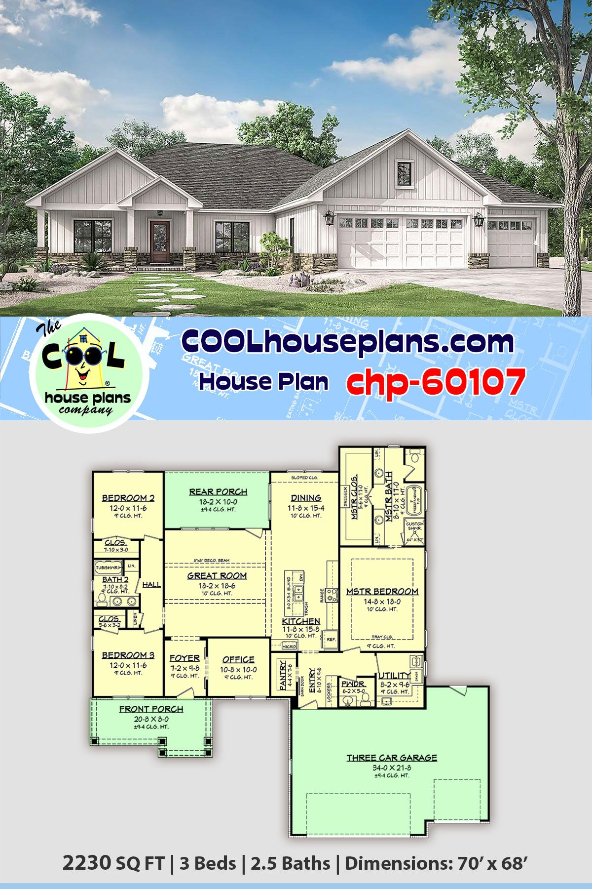 Ranch Style House Plan 56707 With 3 Bed 3 Bath 3 Car Garage Ranch Style House Plans Floor Plans Ranch Ranch House Plan