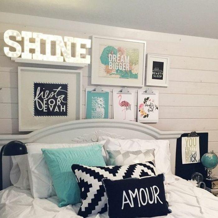 1001 Conseils Et Idees Pour Arranger Un Mur De Cadres Parfait Idee Deco Chambre Ado Deco Chambre Turquoise Chambre