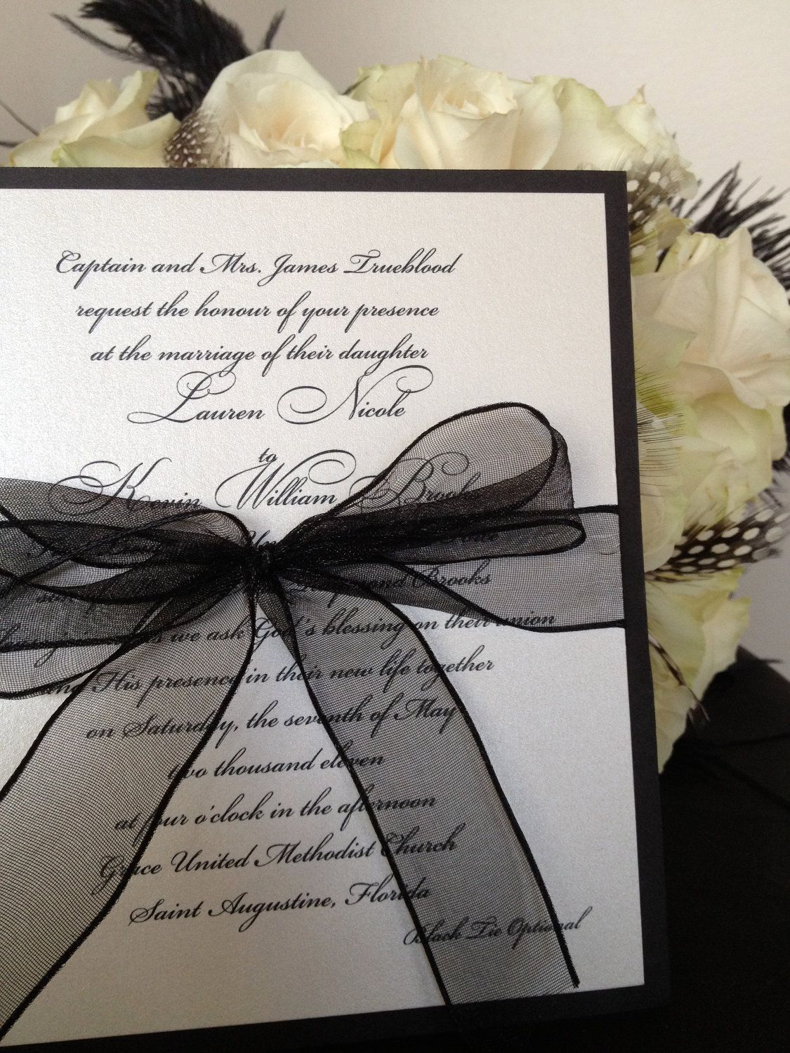 Simple Elegance Black and White Wedding Invitation by LBDesignsbyCO ...