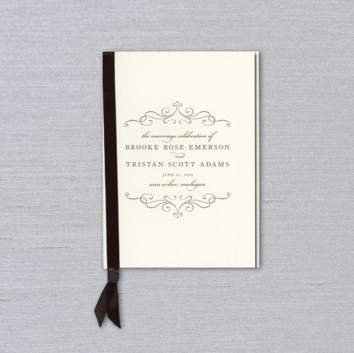 Ecru Side Ribbon Wedding Program