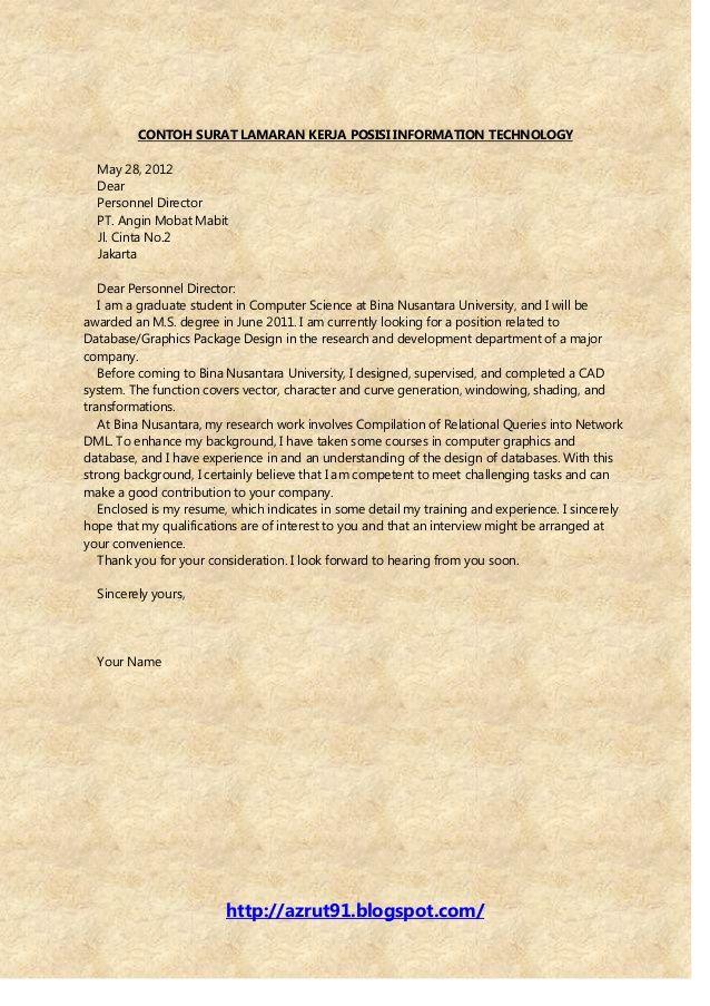 Contoh Surat Lamaran Kerja Dalam Bahasa Inggris Home Untuk Melamar