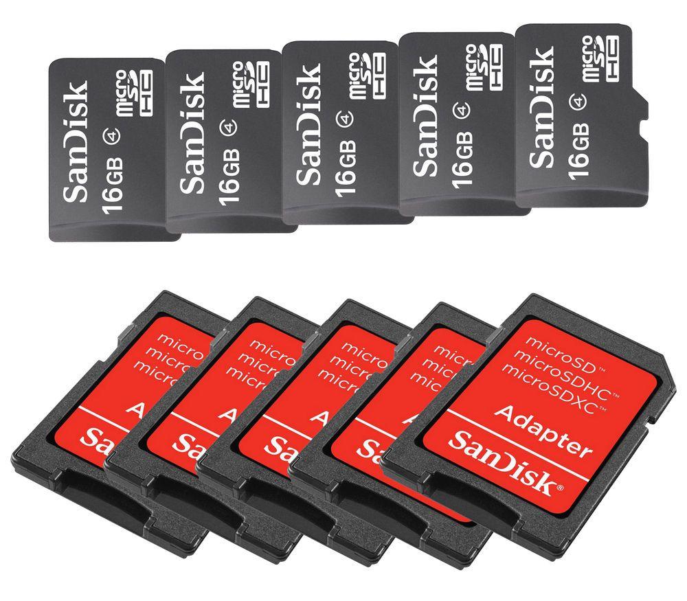 Sandisk 16gb Microsd Microsdhc Sdhc Memory Card Adapter 16g Micro Sd 16 Gb Lot Of 5 New Class 4 Flash Tf