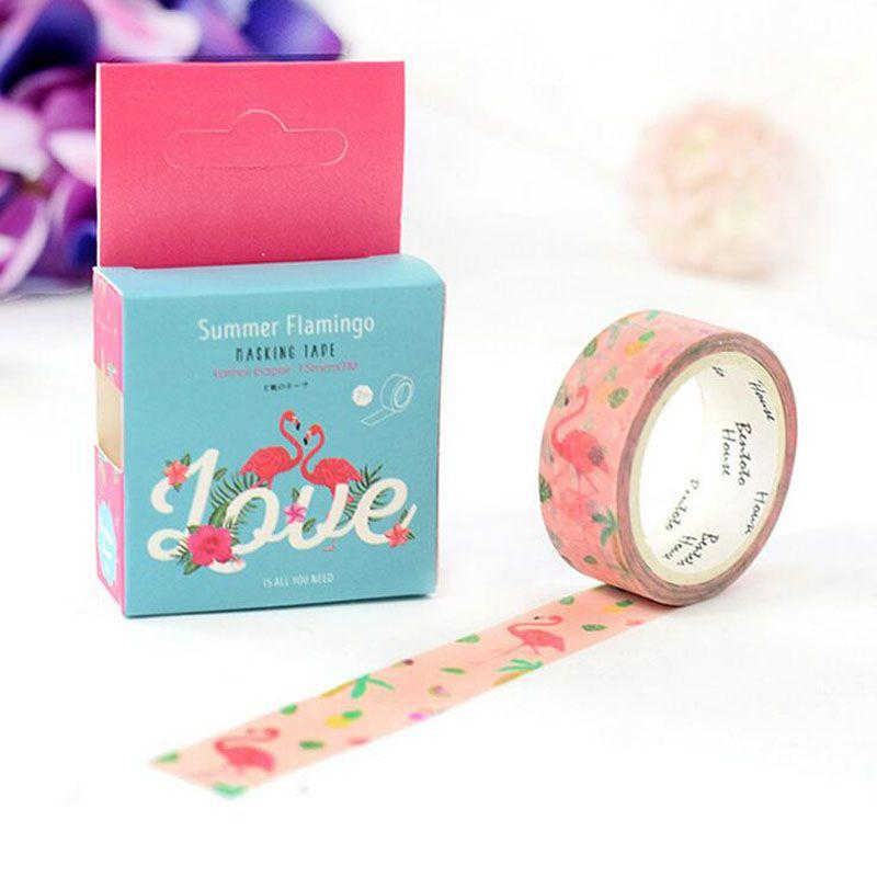 1.5cm Wide Flamingo Washi Tape DIY Scrapbooking Sticker Decorative Stick Label Masking Tape School Office Supply