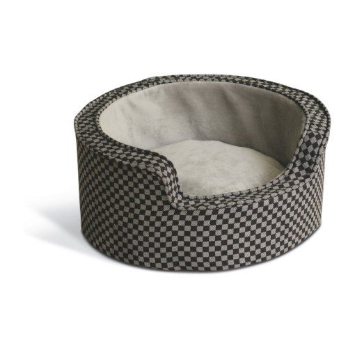 K H Pet Products Self Warming Round Comfy Sleeper Self Warming Pet Bed Round Dog Bed Bolster Dog Bed Grey Dog Bed