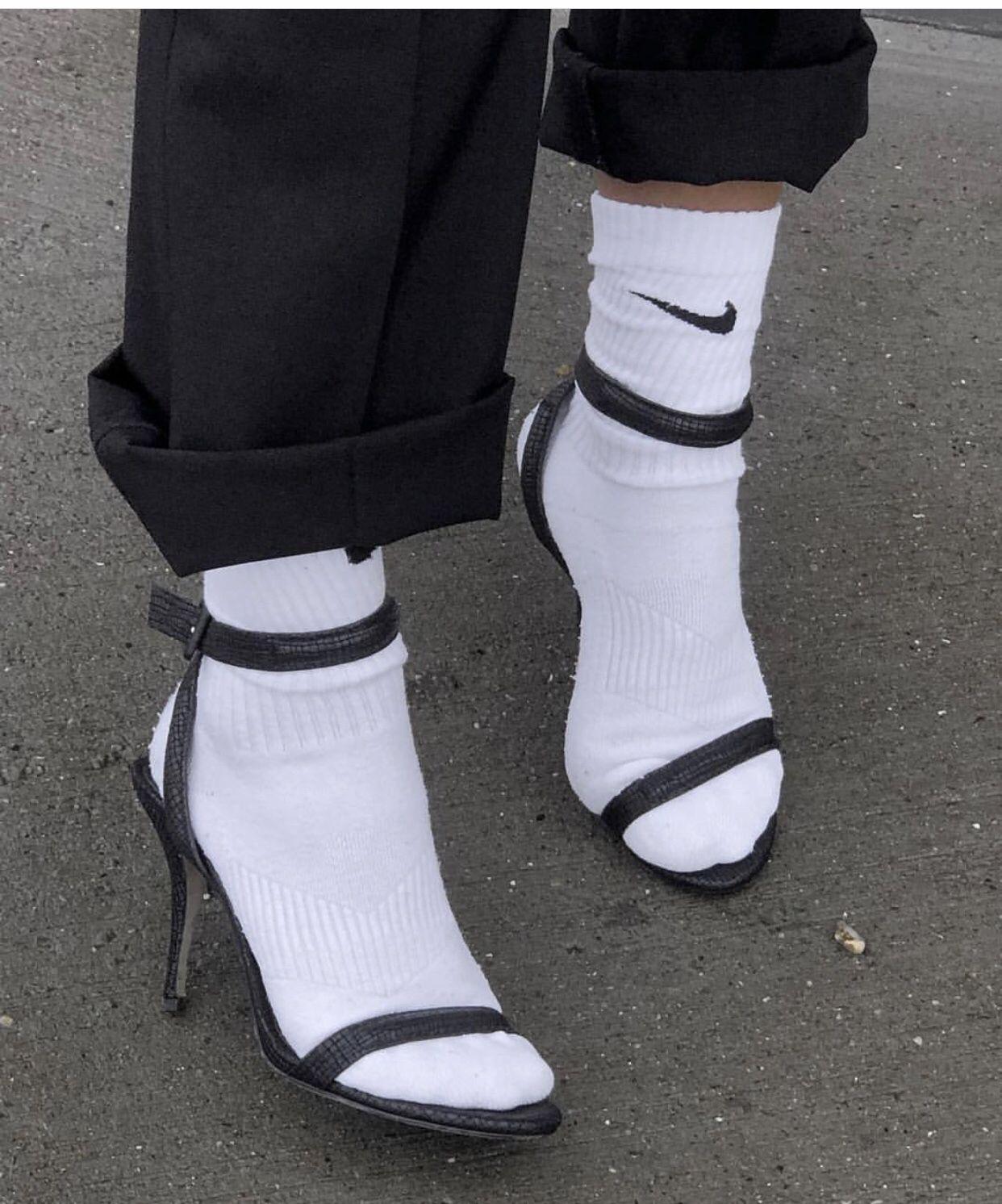 highheels socks white inspo style nike in 2019