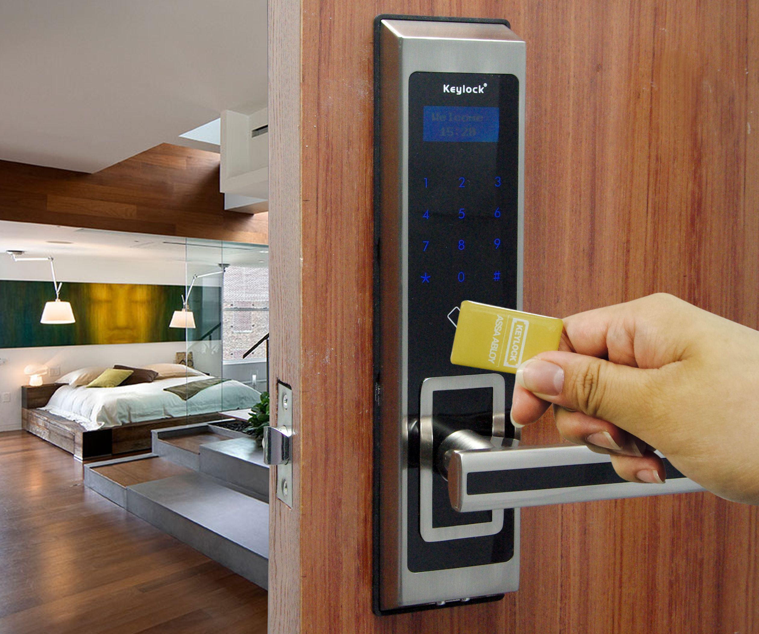 Hotel Lock Touch screen Password Door Lock MF Card Key
